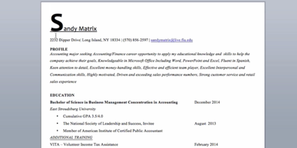 accounting resume