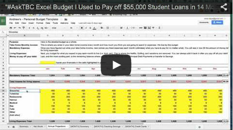 excel budget template we used to pay off 55k student loans in 14 months video walkthrough