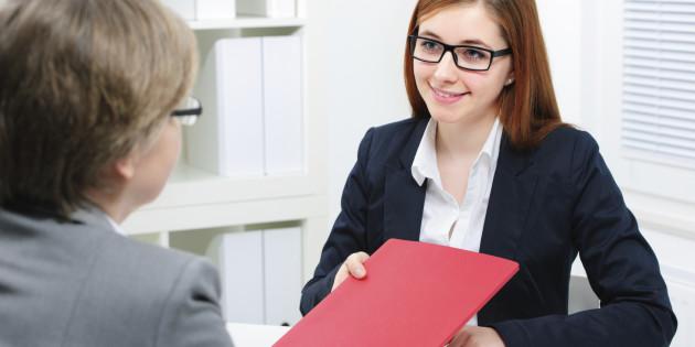 Job applicant having an interview